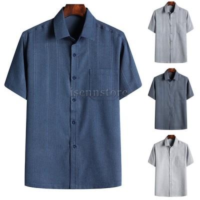 シャツ メンズ ワイシャツ ボタンダウンシャツ カジュアル 半袖 綿麻 メンズポロシャツ 大きいサイズ 開襟シャツ ポケット 無地 夏服 30代40代50代