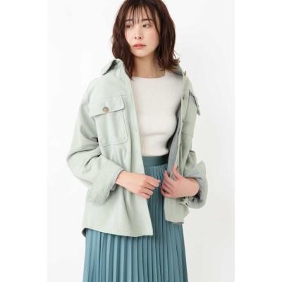【ジルスチュアート】 ◆モリースエードシャツジャケット レディース GREEN FR JILLSTUART