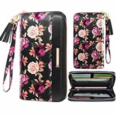Wallets for Women Black Rose Flowers PU Leather Card Holder Organizer Ladies Clutch with Tassel Wristlet Wrist strap