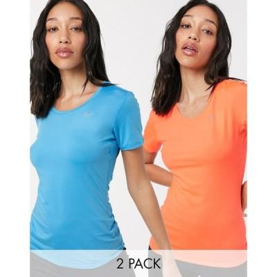 リーボック Reebok レディース Tシャツ 2点セット トップス 2 pack Rani Sports Tshirt in red and blue マルチカラー