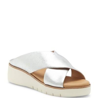 コルソ コモ レディース サンダル シューズ Bilanka Metallic Leather Platform Wedge Slide Sandals