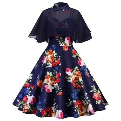 花柄ドレス♪透け感があって可愛い♪大人レトロ♪ふわっとした裾が特徴的♪パーティドレスにもピッタリ♪