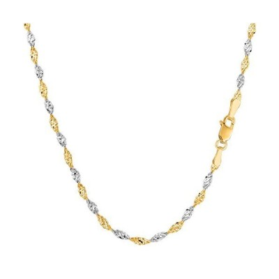 """14k 2 Tone Yellow And White Gold Singapore Chain Necklace, 2.0mm, 20"""""""