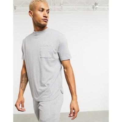 エイソス メンズ シャツ トップス ASOS DESIGN relaxed t-shirt with curved hem in light gray marl