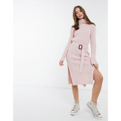 インザスタイル レディース ワンピース トップス In The Style x Billie Faiers roll neck knitted dress with belt in pink Pink