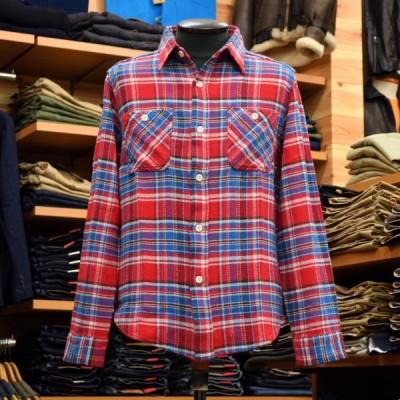 SUGAR CANE (シュガーケーン) ソフトツイルチェック 長袖ワークシャツ SC26712 レッド