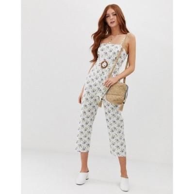 エイソス レディース ワンピース トップス ASOS DESIGN strappy pinny belted jumpsuit in floral print