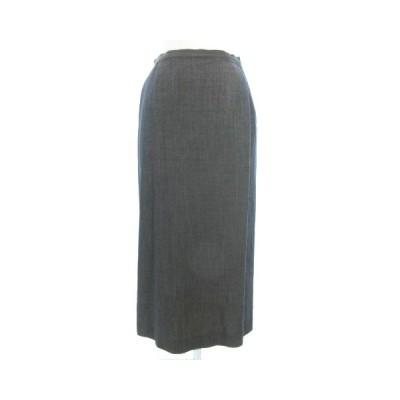 【中古】バジーレ BASILE 28 スカート ロング ウール チェック柄 フレア グレー 灰色 42 IBS88 レディース 【ベクトル 古着】