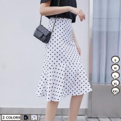 OL スカート メメメクラゲ ハイウエストスカート ドット柄スカート シフォンスカート 韓国風 2019年新作 ロングスカート