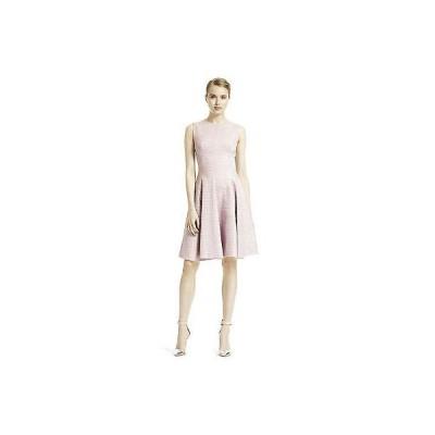 ワンピース レラローズ LELA ROSE  Shimmery LILAC  Metallic Tweed GODET Flared Dress  4 6 8 12