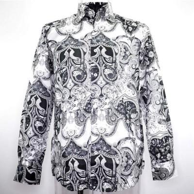barassi MILANO バラシ スナップダウンシャツ 長袖 インポート生地 綿(コットン) M/L メンズ ファッション 服 カジュアル 日本