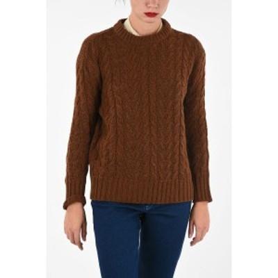 PLAN C/プランシー Brown レディース wool cable knit crew-neck sweater dk