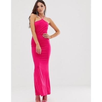 エイソス ASOS DESIGN レディース ワンピース ワンピース・ドレス hot pink halter maxi dress Hot pink