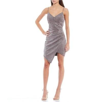 ハニーアンドロージー レディース ワンピース トップス Spaghetti Strap Shine Asymmetric Hem Wrap Dress