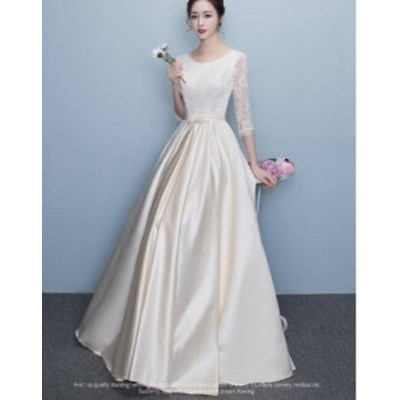 ワンピース ドレス ロング丈 七分袖 レース 刺繍 ブライダル ウエディング パーティー 上品 フォーマル 結婚式 20代 春夏 d228