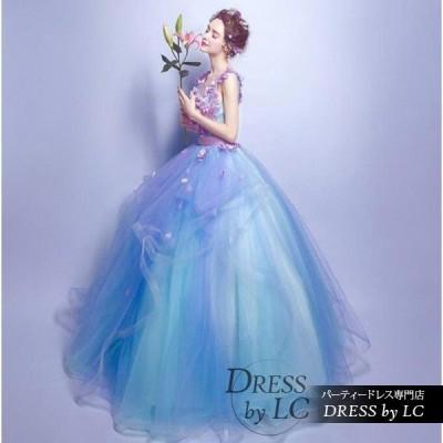ウエディングドレス パーティードレス 二次会 結婚式 カラードレス プリンセスライン 花柄 深Vネック ,ロング丈 ふんわりドレス