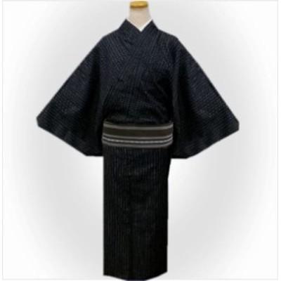 浴衣 メンズ 男性 綿麻 ワンタッチ結び角帯 セット しじら織 黒色地白ライン M L LL 3L 帯簡単