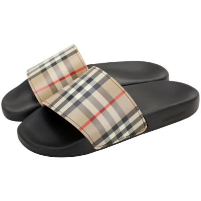 BURBERRY Vintage 幻燈片格紋寬版一字拖女版涼鞋(典藏米)
