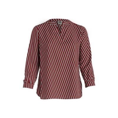 アンクライン レディース シャツ トップス Plus Size Oblique Stripe Split Neck Blouse