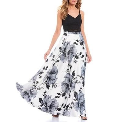 シティヴァイブ レディース ワンピース トップス Spaghetti Strap Lace Top with Floral Skirt Two-Piece Dress