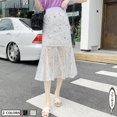 フレアスカートメメメクラゲ2色スカート2020年夏マーメイドスカート無地スカート透け感ゴム有りレディースお呼ばれ
