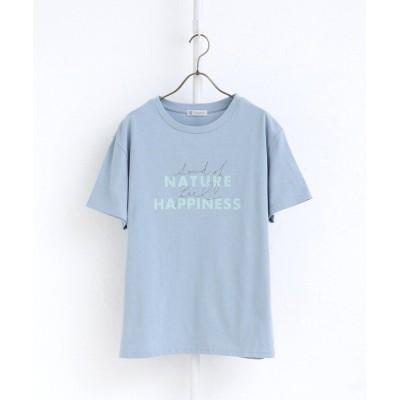 【アフタヌーンティー・リビング】 ロゴミックスオーガニックコットンTシャツ レディース ブルー M Afternoon Tea LIVING