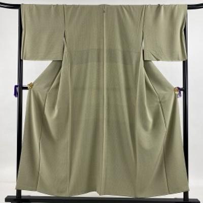 小紋 美品 秀品 一つ紋 格子 抹茶色 袷 身丈154cm 裄丈67.5cm L 正絹 中古