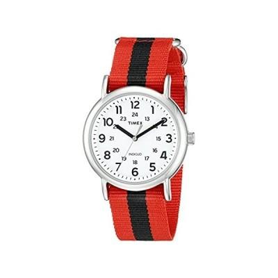 【新品未使用品】Timex Unisex TW2P68000 Weekender Red/Black Stripe Nylon Slip-Thru Strap Wat【並行輸入品】