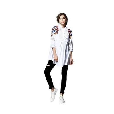 LANYAYI オリジナルデザイン レデイーズエスニック系刺繍入りミデイアム丈シャツ ホワイト M