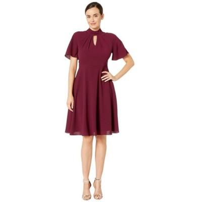マギーロンドン Maggy London レディース ワンピース ワンピース・ドレス Crepe Fit and Flare Dress with Flutter Sleeve Oxblood