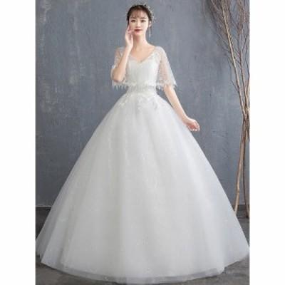 2019新品 ウエディングドレス 白 ロングドレス イブニングドレス パーティードレス 結婚式 二次会 ベアトップ プリンセス 花嫁 ドレス