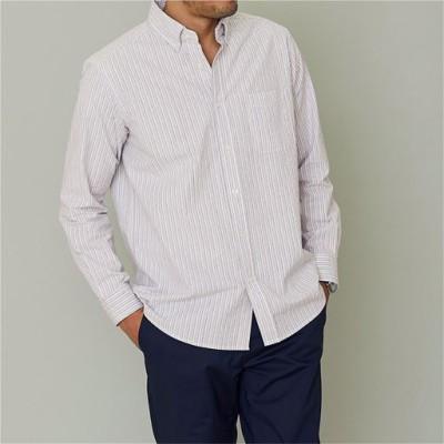 綿100%サッカー素材シャツ(長袖)/ストライプA/L