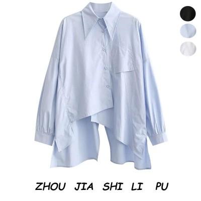 シャツブラウス レディース 不規則シャツ 長袖 春夏 とろみ ブラウス シフォン オフィス フォーマル シワになりにくい 大きいサイズ スキッパーシャツ ワイシャツ3color