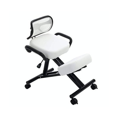 New! Stork (by Perfect Perch) - Beautiful Ergonomic Kneeling Chair with Leather Cushions, Back Support, Pneumatic Height Adjustment, Side Ha