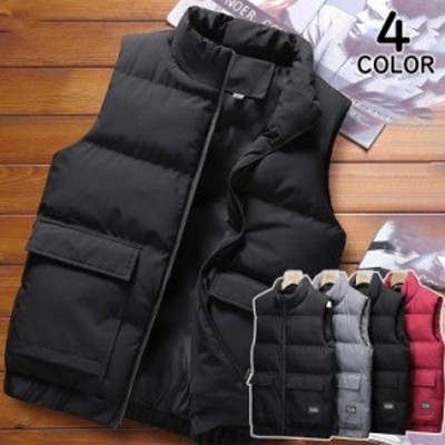 中綿ベスト ダウンベスト メンズ ベスト アウター 無地 軽量 ベストジャケット 暖かい 秋冬 中綿入り カジュアル アウトドア フード付き