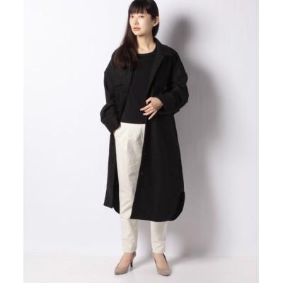 【コエ】 ルーズシルエットチェックシャツロングアウター レディース ブラック F koe