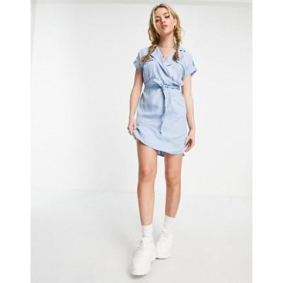 ノイズィーメイ Noisy May レディース ワンピース シャツワンピース ワンピース・ドレス shirt dress in light blue ライトブルー
