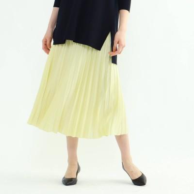 インディヴィ INDIVI 【WEB限定カラー】ドレープサテン切り替え風プリーツスカート (レモンイエロー)