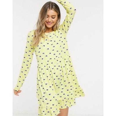 ウェンズデーガール レディース ワンピース トップス Wednesday's Girl long sleeve smock dress in yellow floral