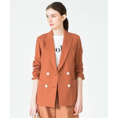 ジャケット テーラードジャケット リネン混ピケダブルブレストジャケット