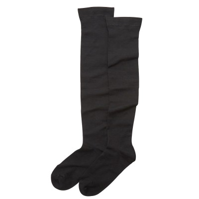 あったか吸湿発熱 無地黒ニーハイソックス2足組 女の子 オーバーニー(19~21cm) キッズ靴下, Kid's Socks