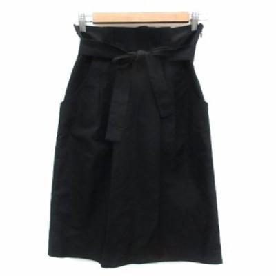 【中古】マヌーカ MANOUQUA スカート タイト ひざ丈 リボン 38 ブラック 黒 /YM2 レディース