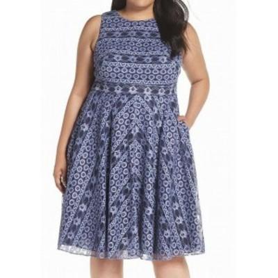 Eliza J エリザジェイ ファッション ドレス Eliza J NEW Blue Womens Size 22W Plus Floral Lace A-Line Dress