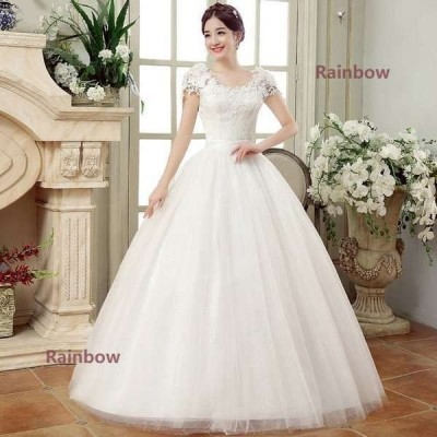 白 ウエディングドレス プリンセスドレス レディース レース 花柄 ブライダルドレス 花嫁 大きいサイズ ロング丈 演奏会 ホワイト 結婚式 ドレス