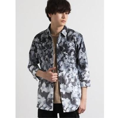 ストレッチ花柄段染め7分袖シャツ