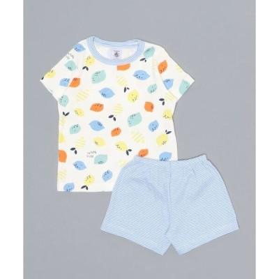 ルームウェア パジャマ プリント半袖ポケッタブルパジャマ