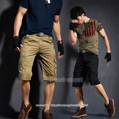 ショートパンツ メンズ ワークパンツ 作業服 「ベルトがついておりません」 カーゴパンツ ハーフパンツ 短パン 半ズボン アウタドア ミリ