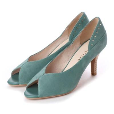 アンタイトル シューズ UNTITLED shoes オープントゥパンプス (ライトグリーンスエード)