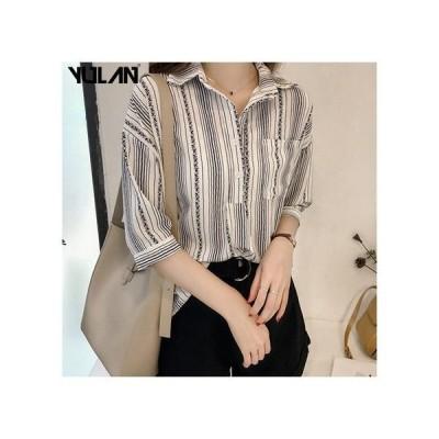 刺繍シャツストライプトップスブラウスストライプ長袖レディーストップスシャツ襟付き人気wear.com