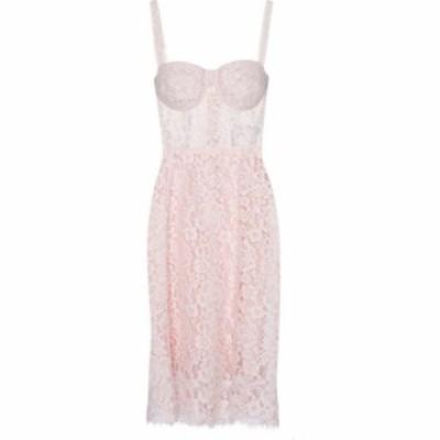 ドルチェandガッバーナ Dolce and Gabbana レディース パーティードレス ビスチェ ミドル丈 bustier lace midi dress Rosa Polvere Chiar